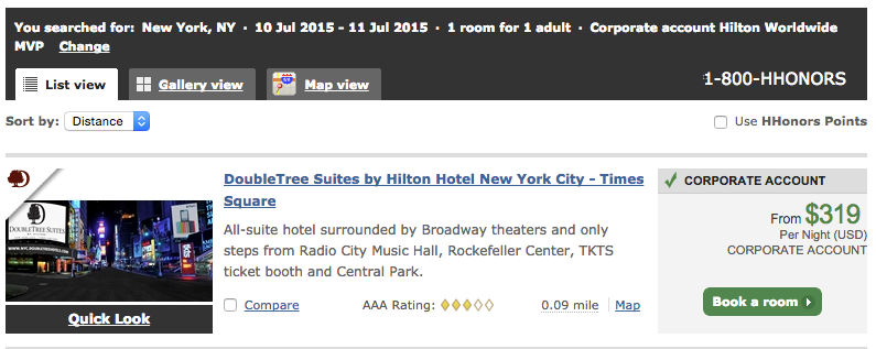 DoubleTree Suites by Hilton Hotel New York City - Times Square MVP-prijs